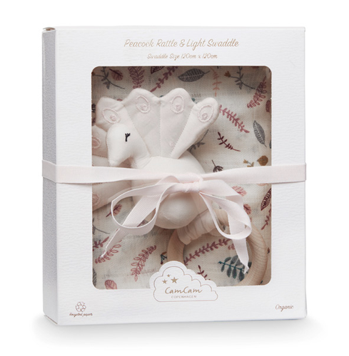 Cam Cam Gift Box with Swaddle and Peacock Rattle - Pressed Leaves Rose