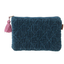 Load image into Gallery viewer, Kip & Co - Teal Velvet Quilted Cosmetic Purse