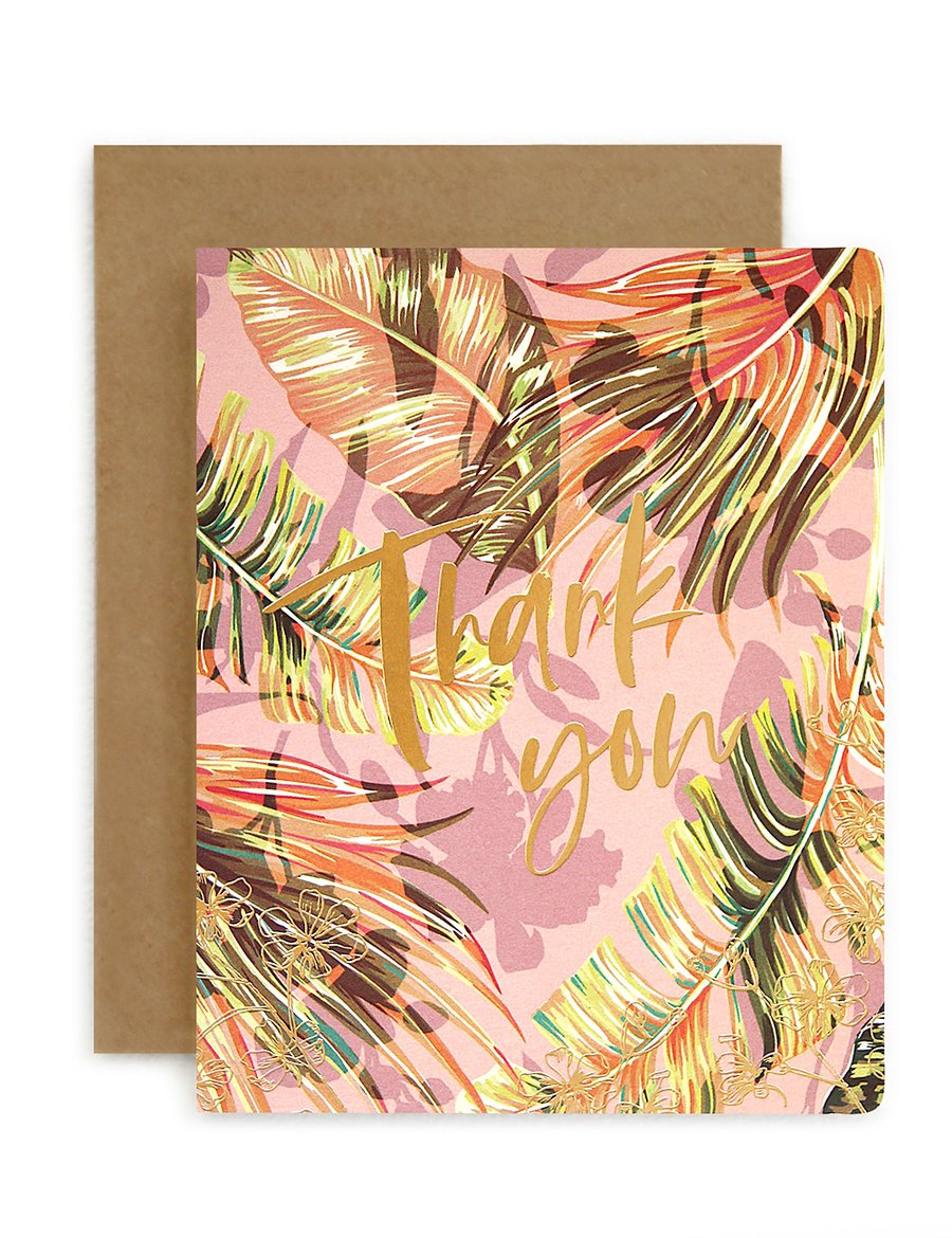 Bespoke Letter Press 'thank you' jungle card