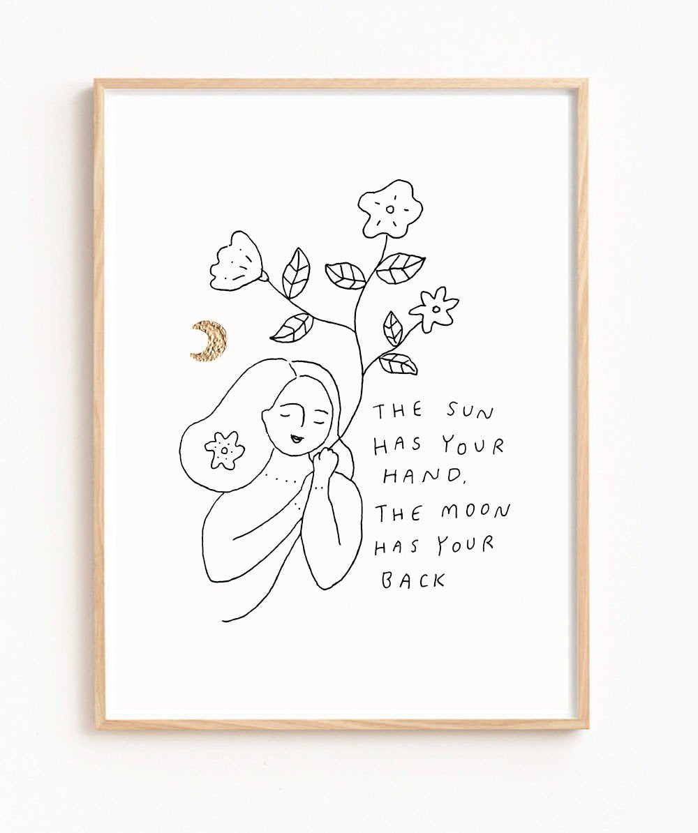 Musings from the Moon - 'The Sun and Moon' Print - A3 Print With Gold Leaf Detail