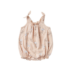 Rylee + Cru - Flamingo Shoulder Tie Onesie - Blush