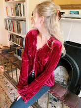 Load image into Gallery viewer, Dark Red Velvet Blouse