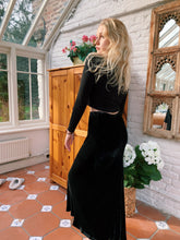Load image into Gallery viewer, Slate Grey Velvet Maxi Skirt