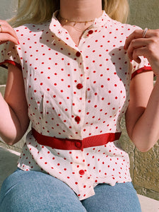 Red Polka Dot Button Front Blouse