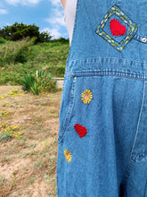 Load image into Gallery viewer, Denim Dungarees With Embroidery