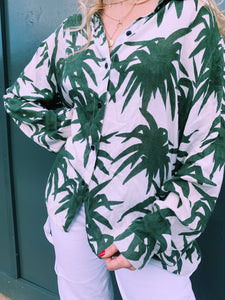Palm Print Button Shirt