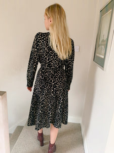 Midi Wrap Dress In Mono Animal Print