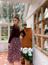 Load image into Gallery viewer, Burgundy Floral Midi Skirt