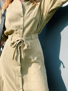 Button Front Utility Dress In Khaki