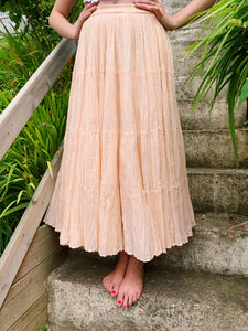 Tiered Maxi Skirt In Pink