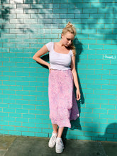 Load image into Gallery viewer, Midi Skirt in Lilac and Pink Paisley Print