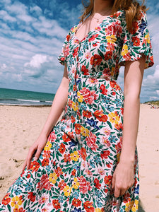 Button Front Midi Dress In Tropical Floral Print