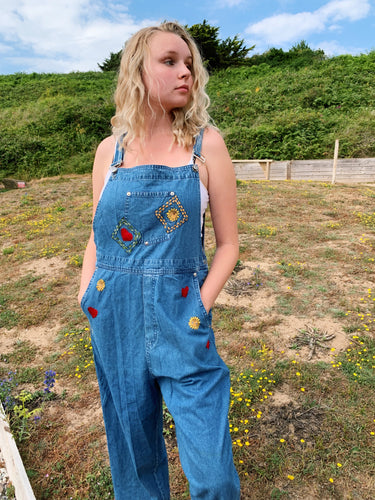 Denim Dungarees With Embroidery