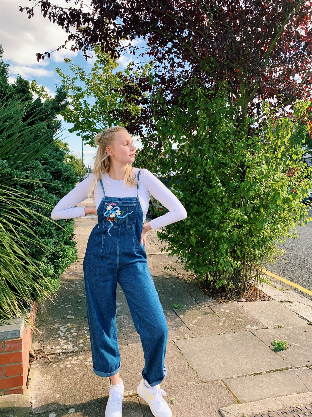 Denim Dungarees with Tie Back
