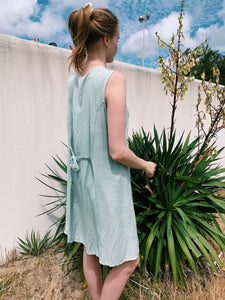 Embroidered Dress In Sage Green