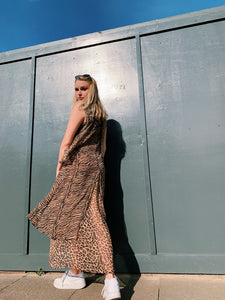 Tiered Maxi Dress In Mixed Animal Print