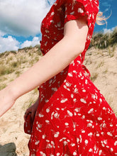Load image into Gallery viewer, Button Front Midi Dress in Red Floral Print