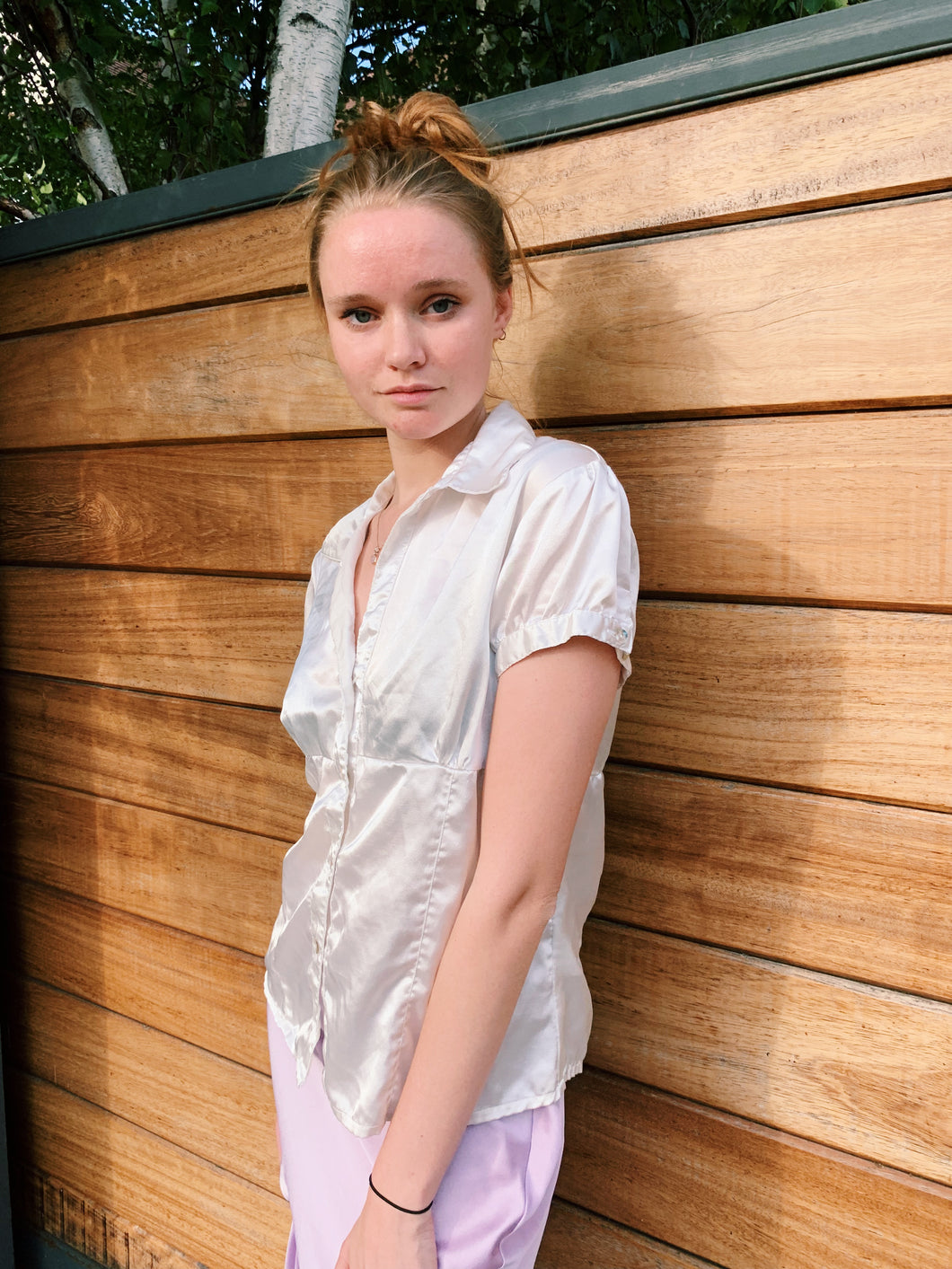 Short Sleeve Silk Blouse