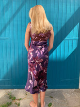 Load image into Gallery viewer, Silk Purple Floral Dress