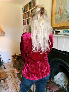 Dark Red Velvet Blouse