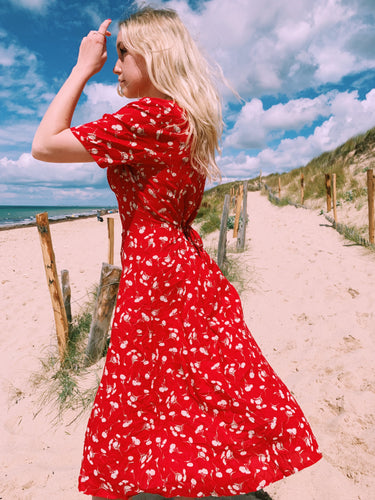 Button Front Midi Dress in Red Floral Print