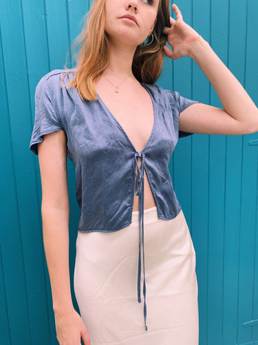 Silky Tie Front Blouse In Blue