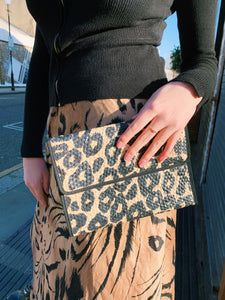 Woven Animal Print Clutch