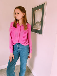 Contrast Pink Button Front Shirt