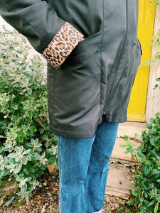 Black Raincoat With Leopard Details