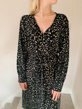 Load image into Gallery viewer, Midi Wrap Dress In Mono Animal Print