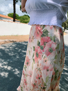 Silk Midi Skirt In Floral Print