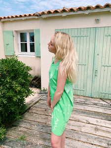 Cotton Summer Dress in Neon Green