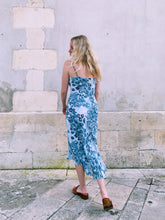 Load image into Gallery viewer, Slip Dress In Blue Abstract Print
