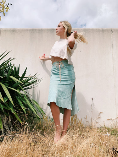Suede Skirt In Sage Green