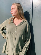 Load image into Gallery viewer, Silk Button Shirt in Khaki Green