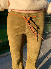 Load image into Gallery viewer, Khaki Green Suede Trousers