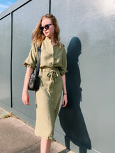 Load image into Gallery viewer, Button Front Utility Dress In Khaki