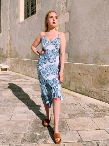 Slip Dress In Blue Abstract Print