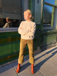 Khaki Green Suede Trousers