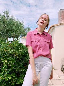 Retro Button Shirt In Dusky Pink