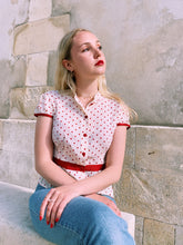 Load image into Gallery viewer, Red Polka Dot Button Front Blouse