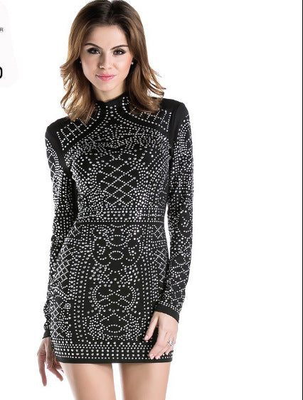 2020 Europe and America solid color sexy geometric retro hot stamping Sequin high collar long sleeve tight dress wholesale ft2838