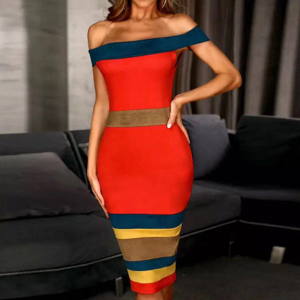 Strapless bandage dress summer dress sexy straddle short sleeve off shoulder party dress