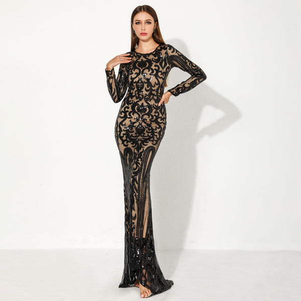 European and American party evening dress 2020 cross border autumn and winter new Sequin round neck long sleeve retro party dress female