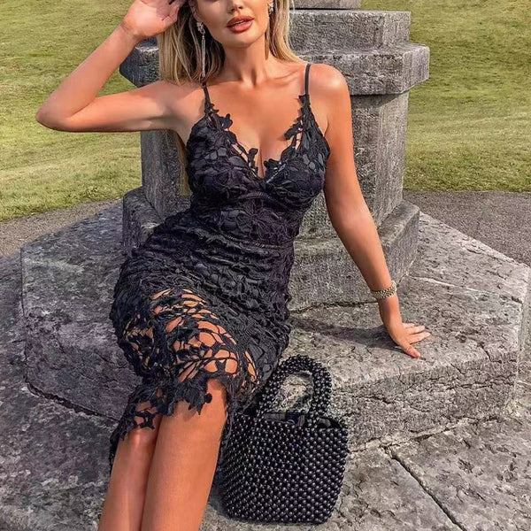 2020 Europe and the United States condole belt lace dress female sexy elegant shoulder-length party nightclub evening dress skirt foreign trade