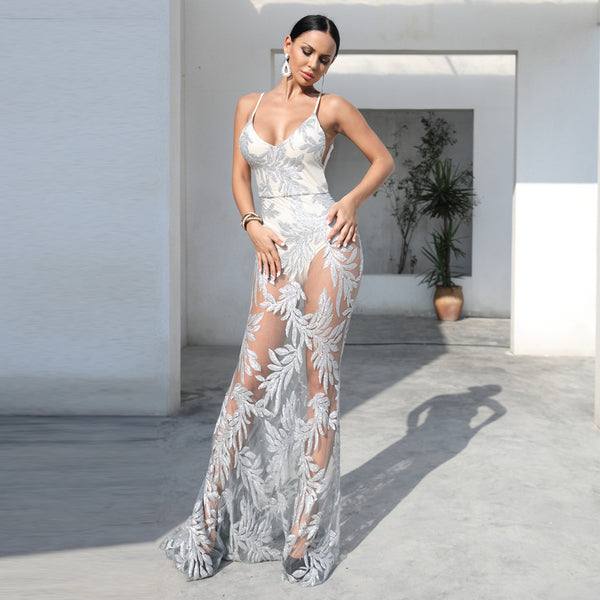 2020 Amazon cross border foreign trade suspender sexy V-neck open back sequin evening dress perspective elegant dress woman