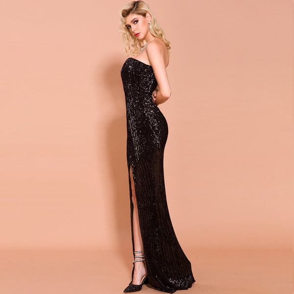 Europe and the United States cross-border Amazon foreign trade dress 2020 autumn/winter women's shoulder sequin long party dress spot