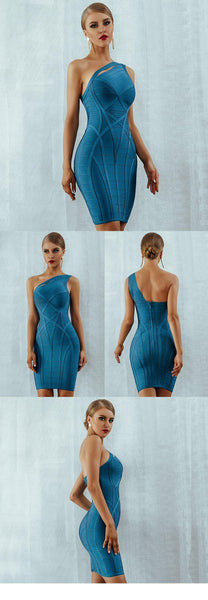 Summer 2020 women's corset bandaged dress new single-shoulder hollowed-out party evening dress