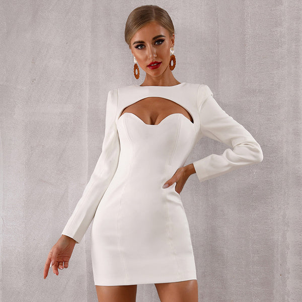 Autumn new women's Bodycon evening dress sexy white long sleeve hollow skirt wholesale