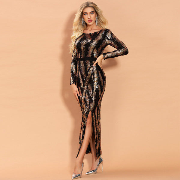 European and American cross border party evening dress female 2020 spring new round neck split Sequin long sleeve dress female foreign trade